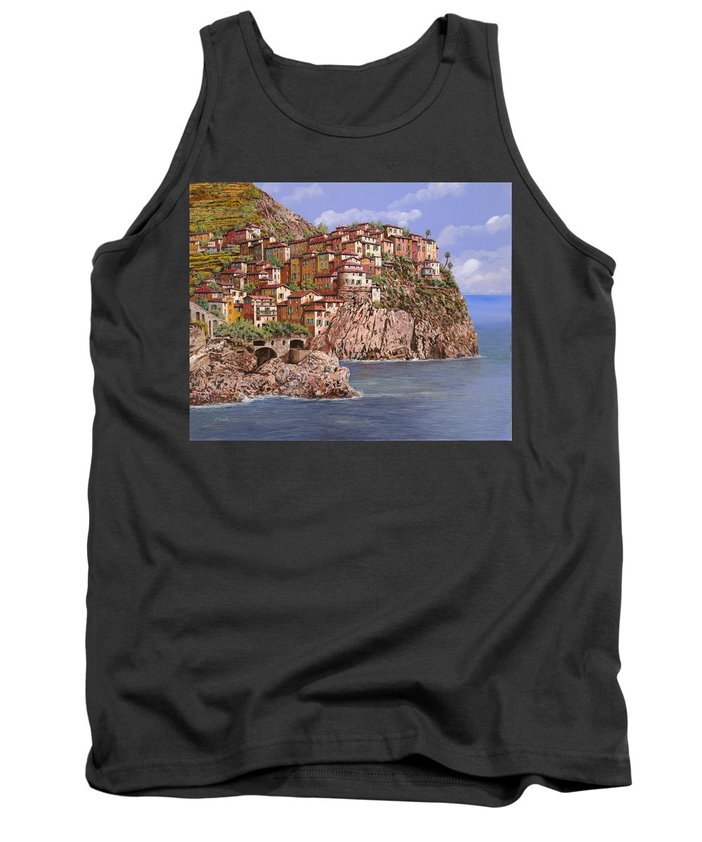 Seascape Tank Top featuring the painting Manarola  by Guido Borelli
