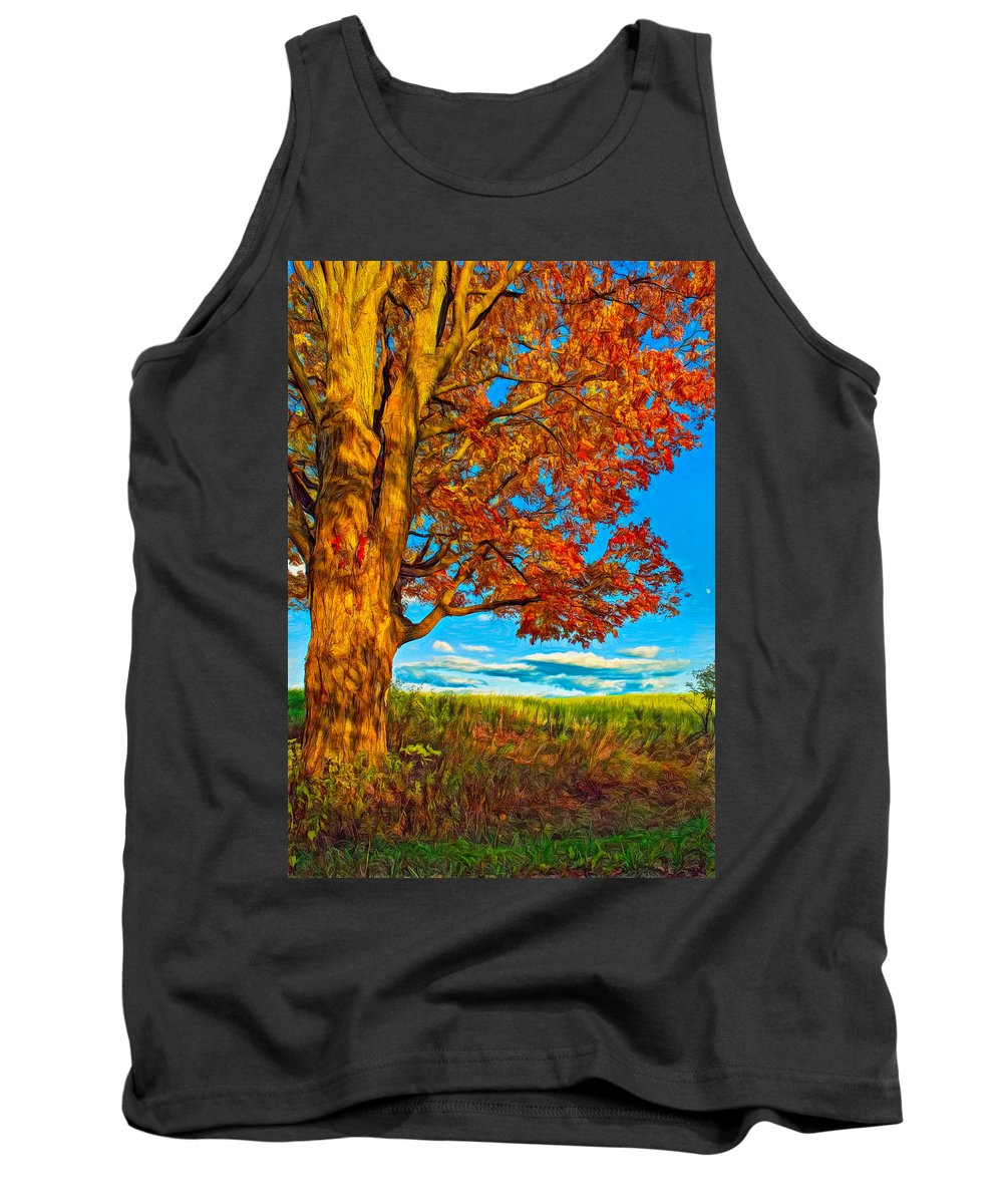 Maples Tank Top featuring the photograph Maple Moon - Paint by Steve Harrington