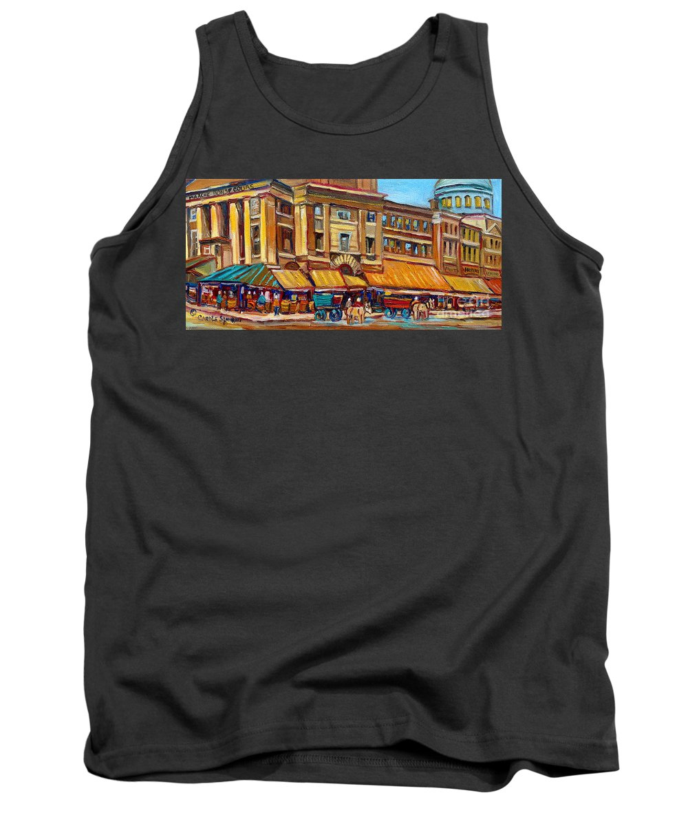 Montreal Art Tank Top featuring the painting Marche Bonsecours Old Montreal by Carole Spandau