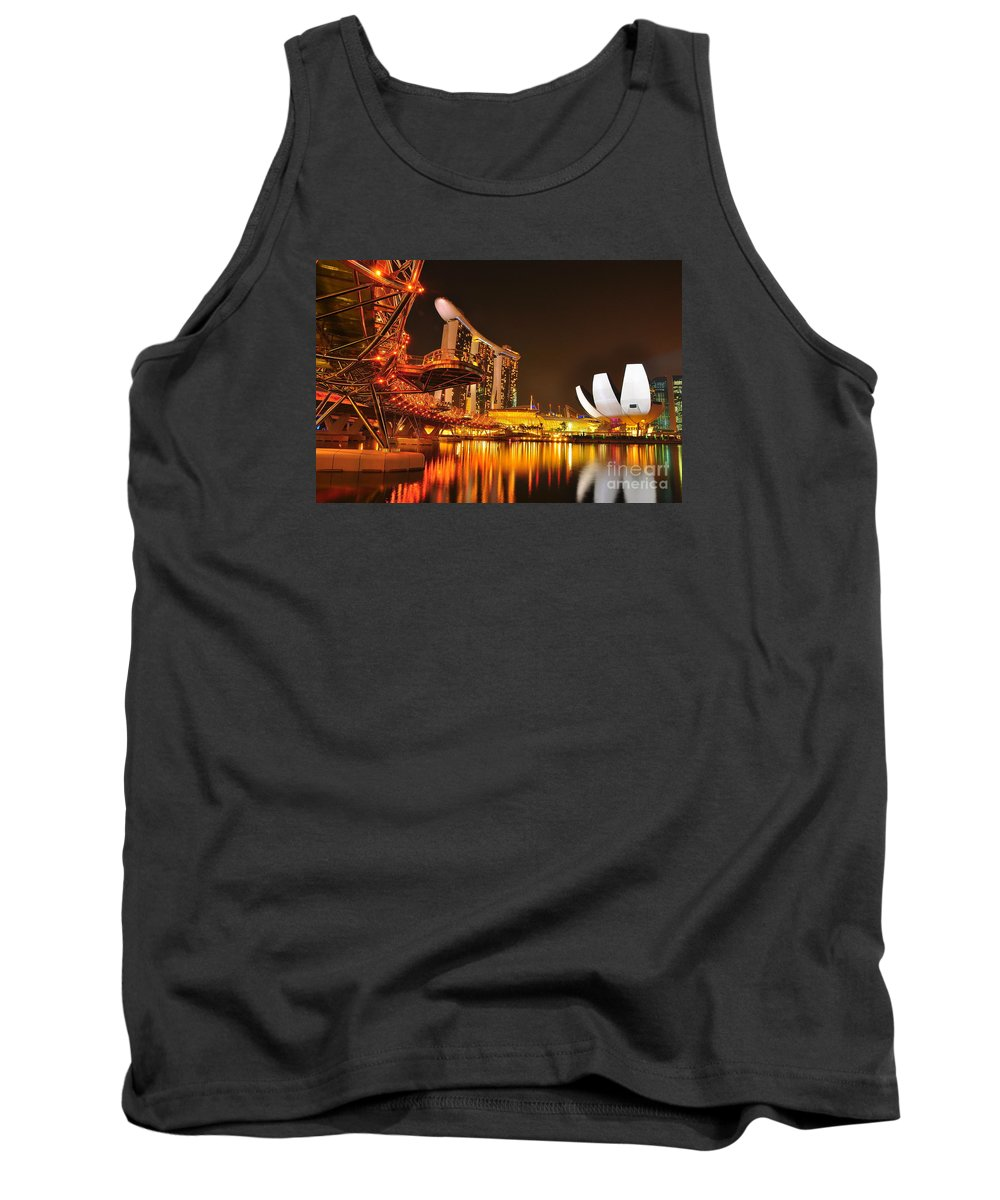 Singappre Tank Top featuring the photograph Singapore Cityscape At Marina Bay Sands by Mu Yee Ting