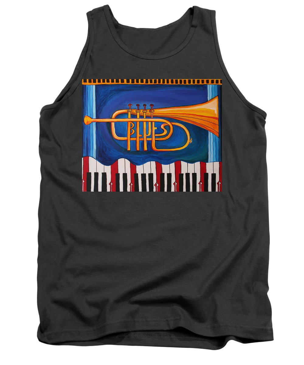 Trumpet Tank Top featuring the painting Maryland Blues Trumpet by Kate Fortin