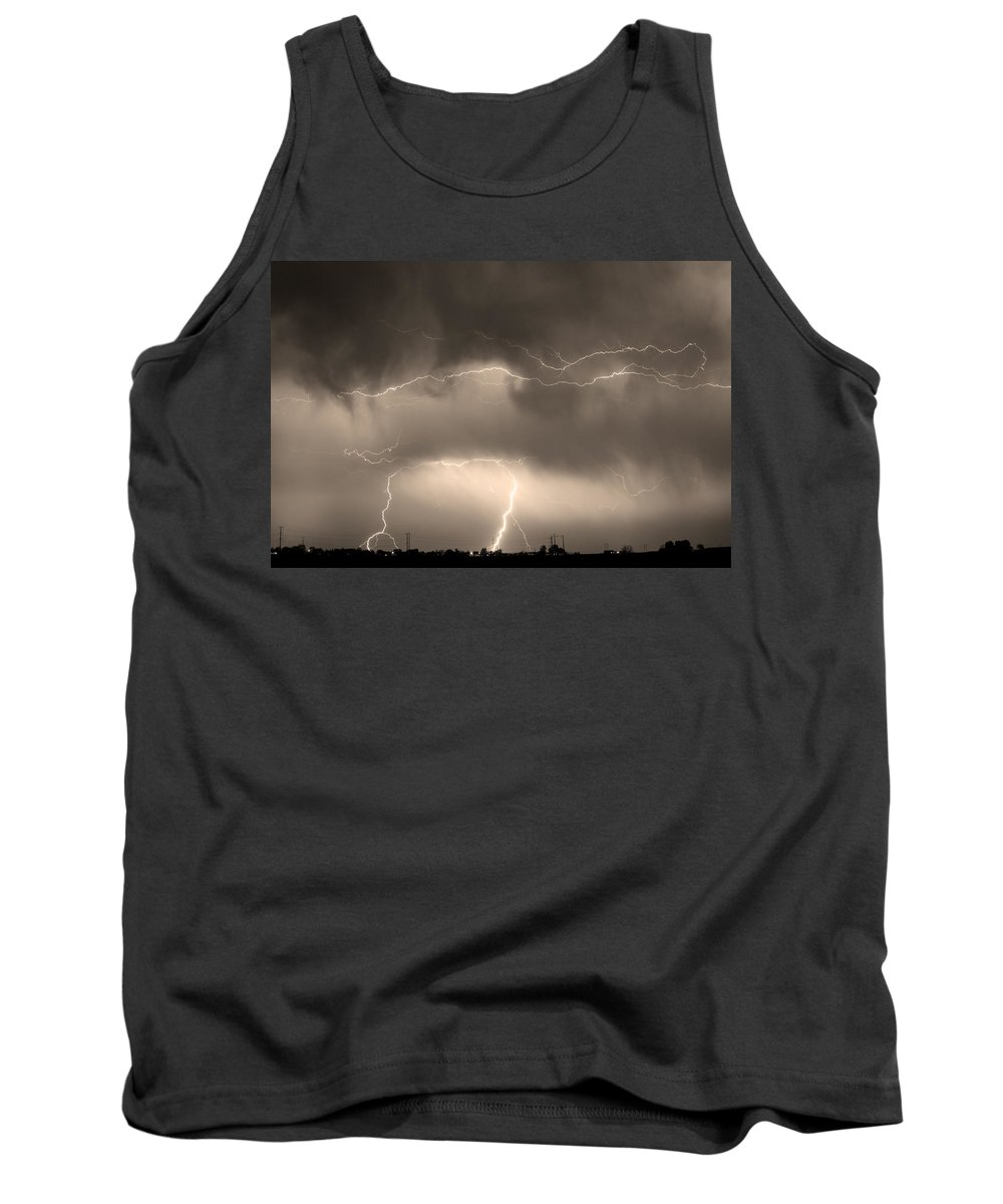 lightning Bolt Pictures Tank Top featuring the photograph May Showers - Lightning Thunderstorm Sepia 5-10-2011 by James BO Insogna