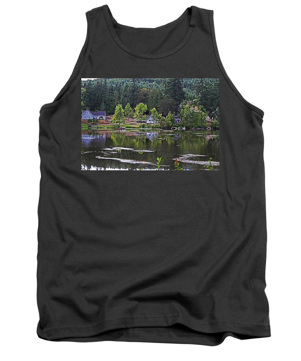 Mcintosh Lake In Washington With Houses Tank Top featuring the photograph Mcintosh Lake In Washington by Tom Janca