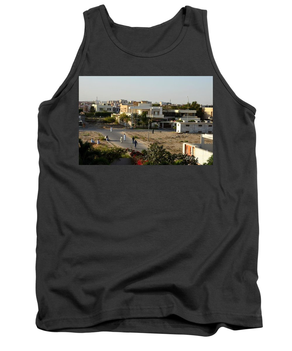 Cricket Tank Top Featuring The Photograph Men Play Street Cricket Karachi Pakistan By Imran Ahmed