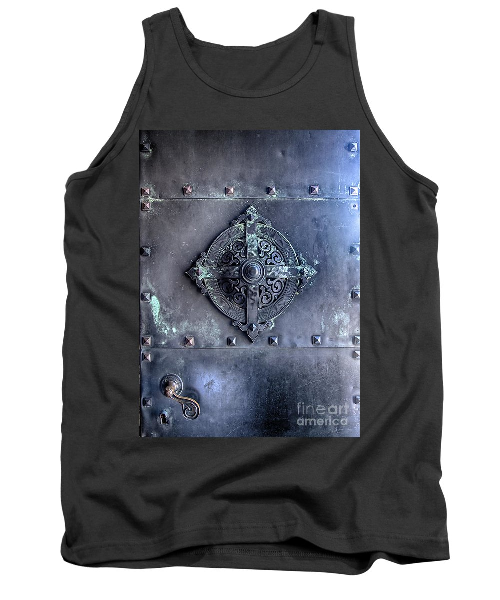 Shield Tank Top featuring the photograph Metal Door by Sophie McAulay