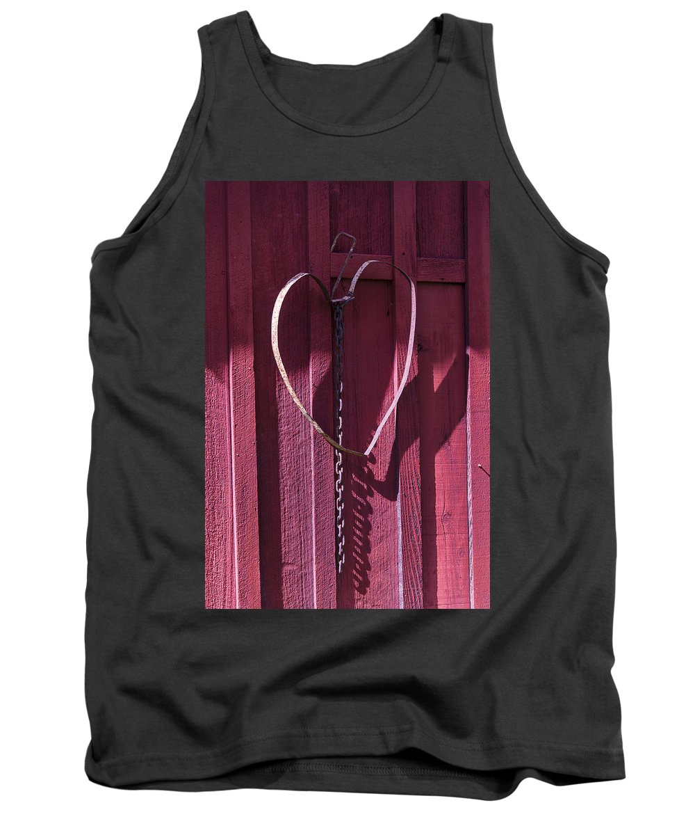 Metal Tank Top featuring the photograph Metal Heart On Red Barn by Garry Gay