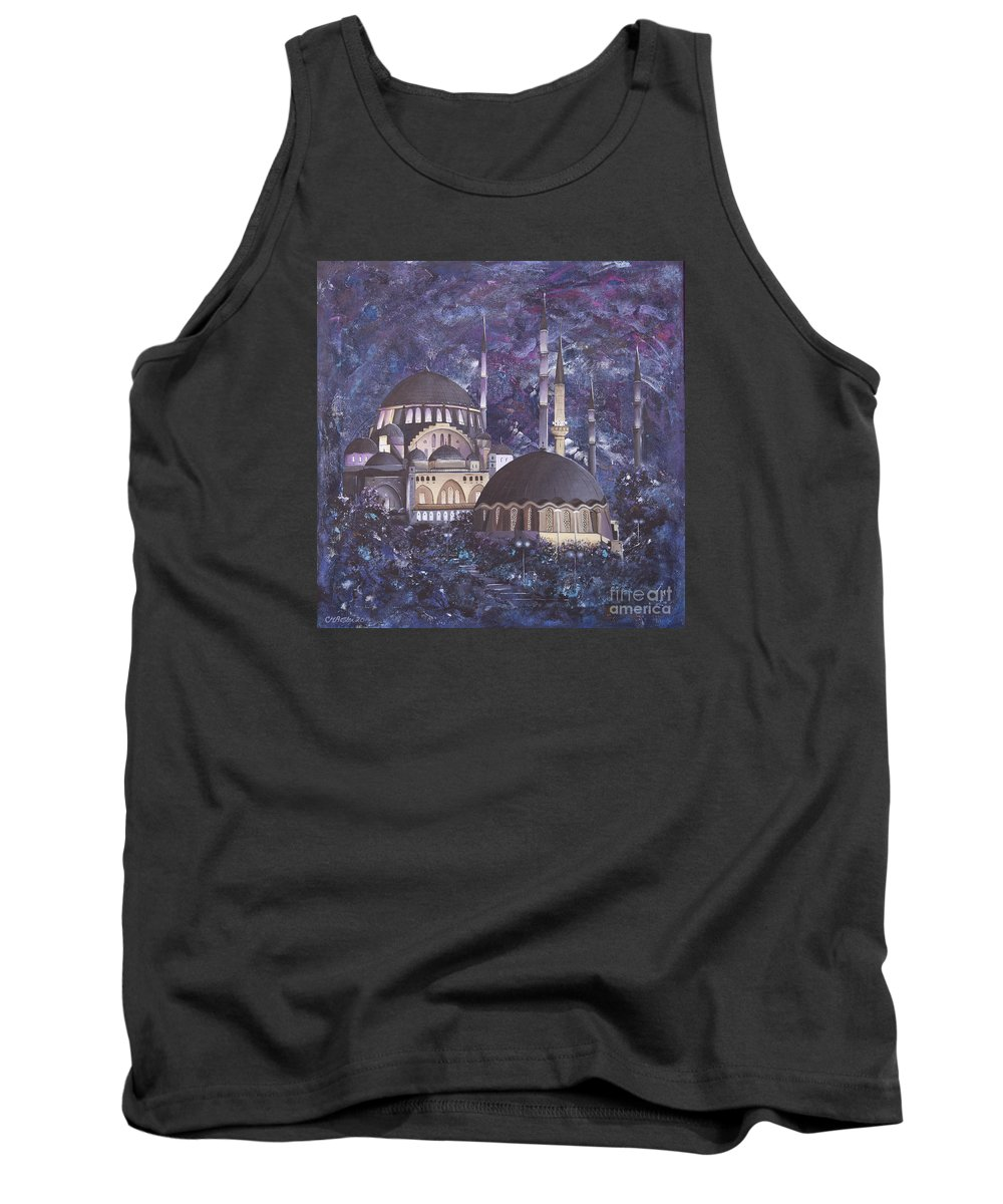 Turkish Tank Top featuring the painting Midnight Mosque by Carol Bostan