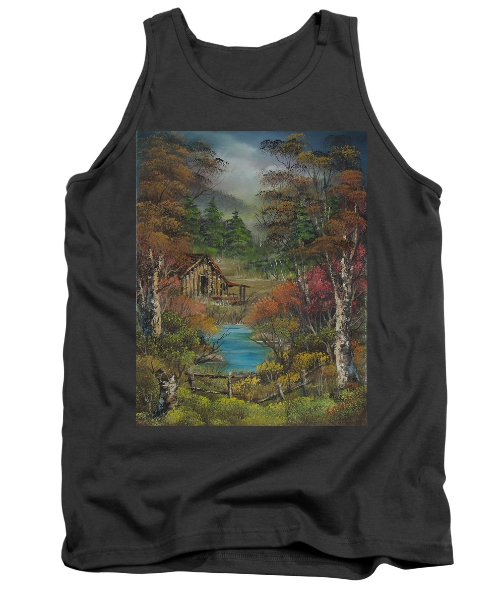 Landscape Tank Top featuring the painting Midwestern Landscape by Sead Pozegic
