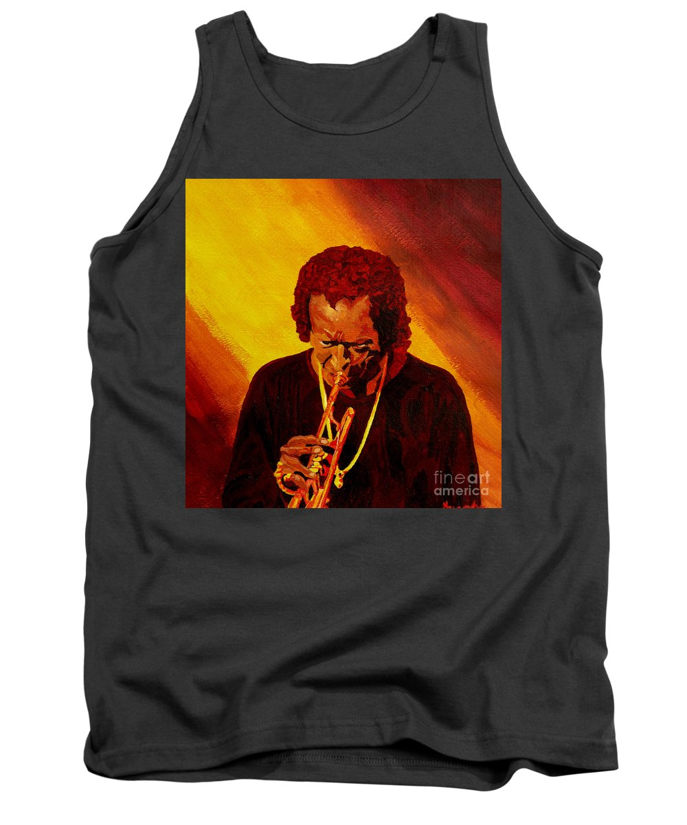 Miles Davis Tank Top featuring the painting Miles Davis Jazz Man by Anthony Dunphy