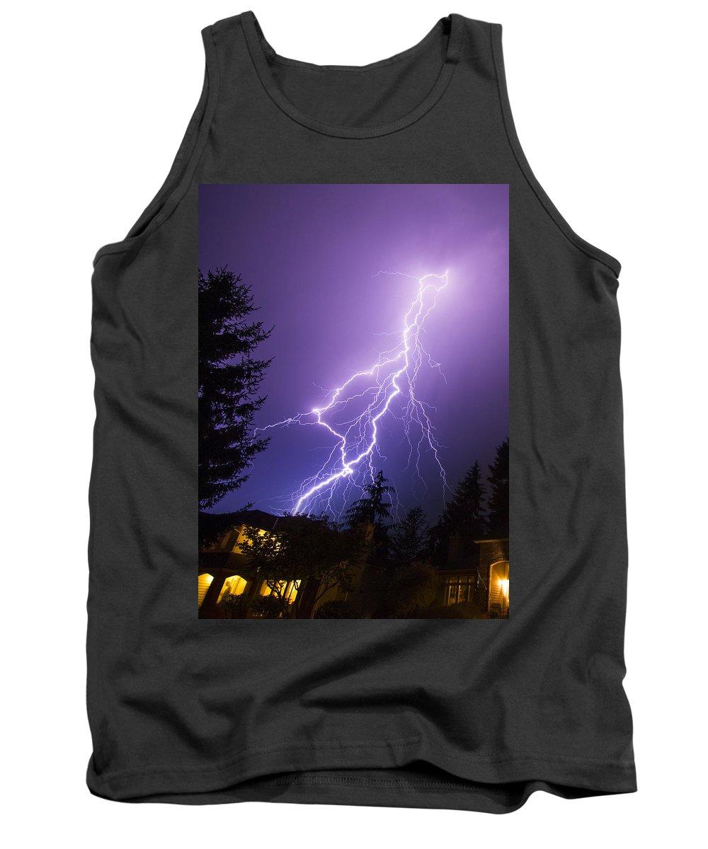 Suburban Tank Top featuring the photograph Mill Creek Lightning by Ryan McGinnis