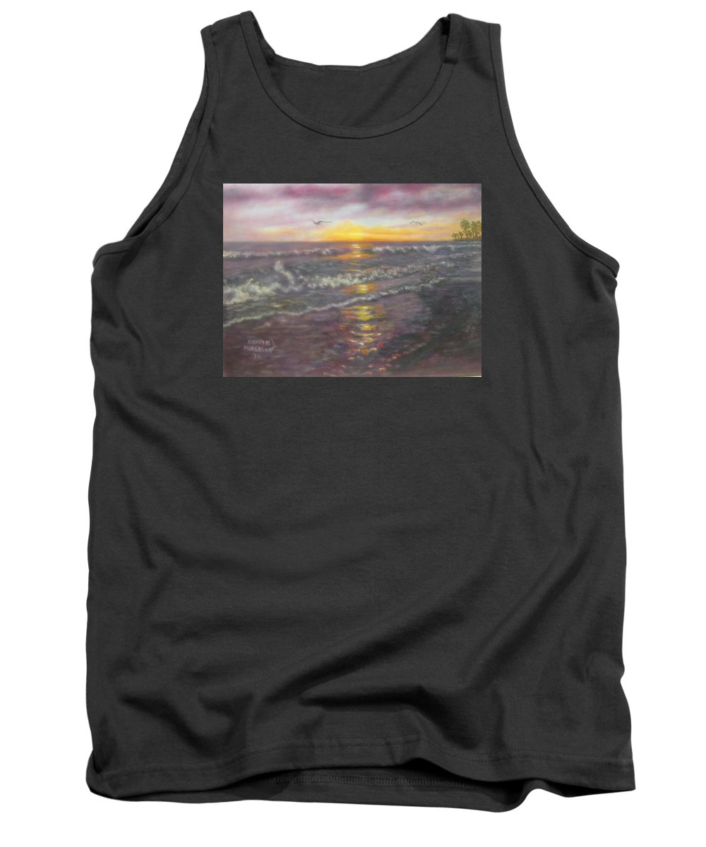 Miller Tank Top featuring the painting Miller Ocean Sunset by Gerry Furgason