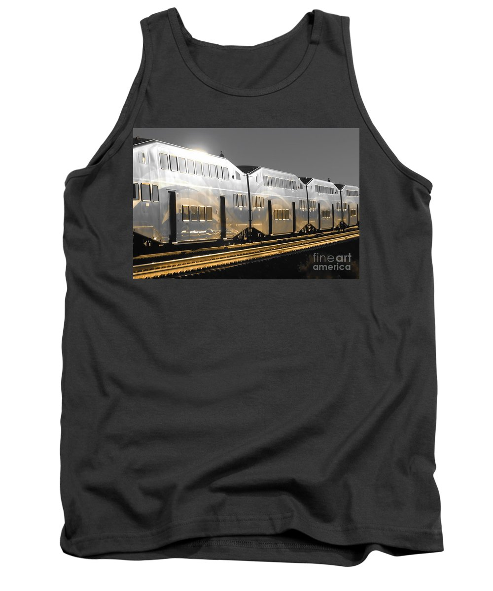 Digital Selective Color Photo Tank Top featuring the digital art Mirror Of The Winter Sun by Tim Richards