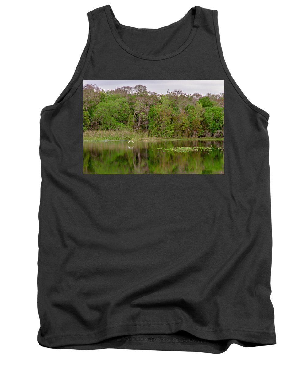 River Tank Top featuring the photograph Mirrored Flight by Thomas Sellberg