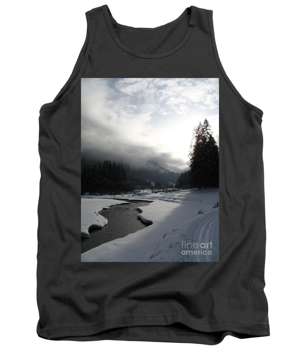 Valley Tank Top featuring the photograph Mist Over A Snowy Valley by Christiane Schulze Art And Photography