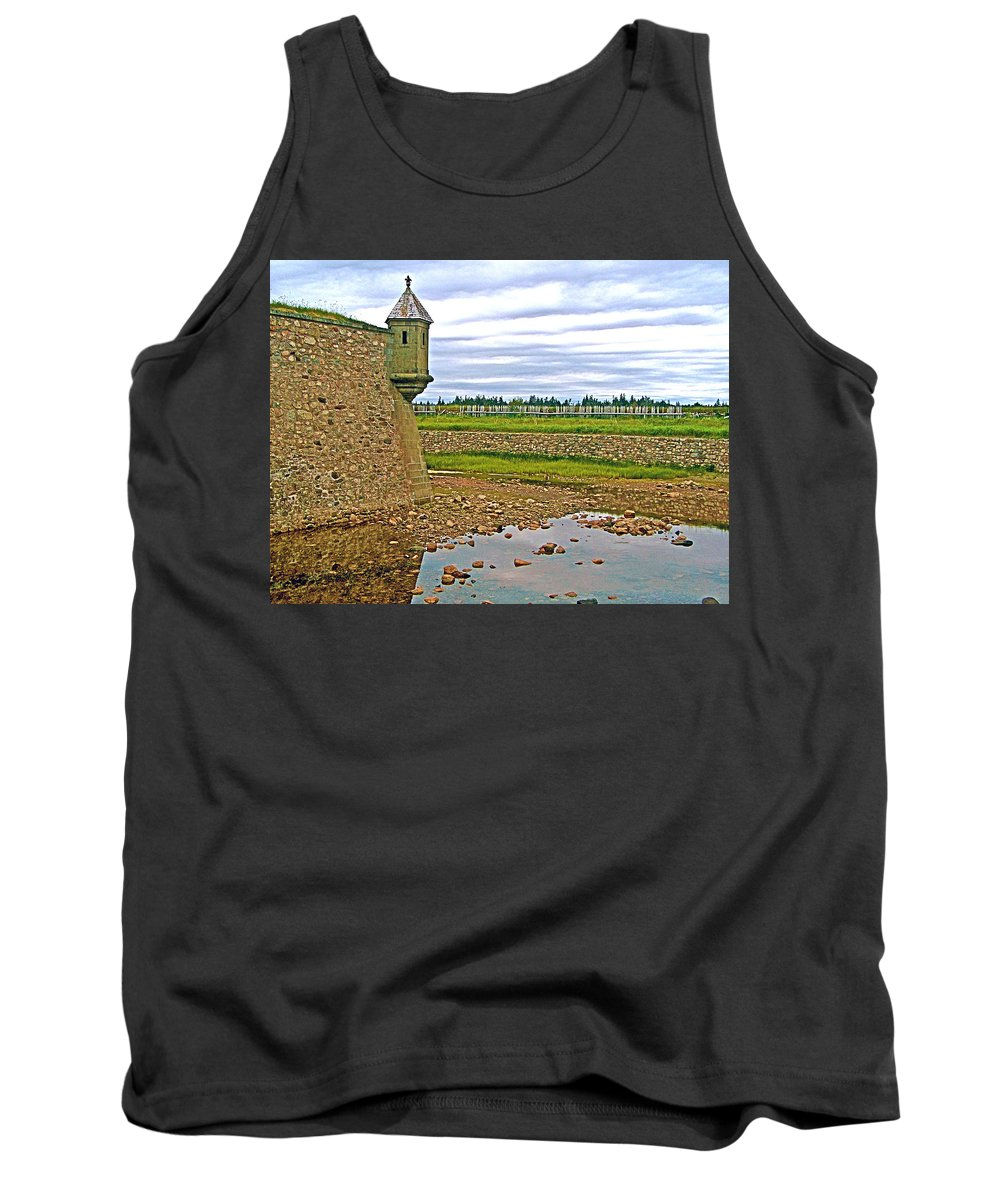 Moat And Wall Around Fortress In Louisbourg Living History Museum Tank Top featuring the photograph Moat And Wall Around Fortress In Louisbourg Living History Museum-ns by Ruth Hager