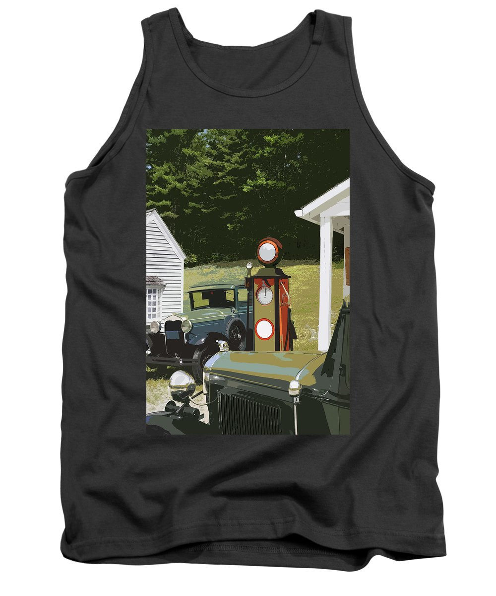 Model A Ford Tank Top featuring the photograph Model A Ford And Old Gas Station Illustration by Keith Webber Jr