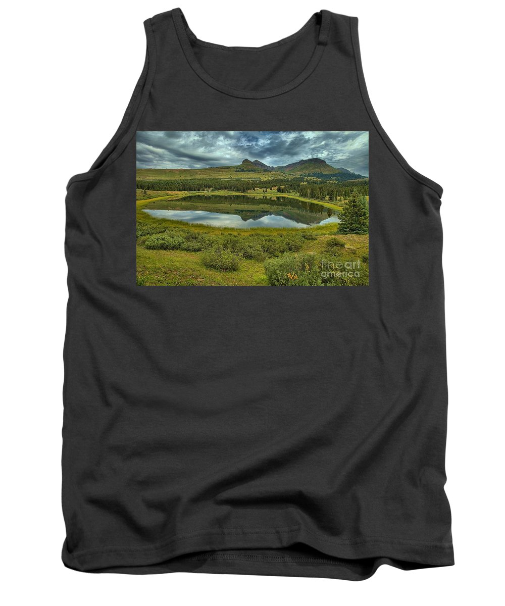 Little Molas Lake Tank Top featuring the photograph Molas Reflections by Adam Jewell