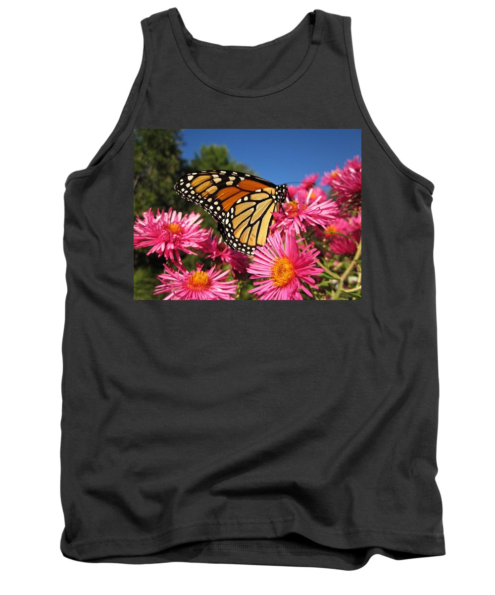 Monarch Tank Top featuring the photograph Monarch On Pink Asters by MTBobbins Photography