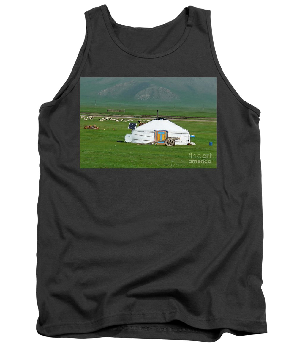 Tank Top featuring the photograph Mongolian Living by Karla Weber