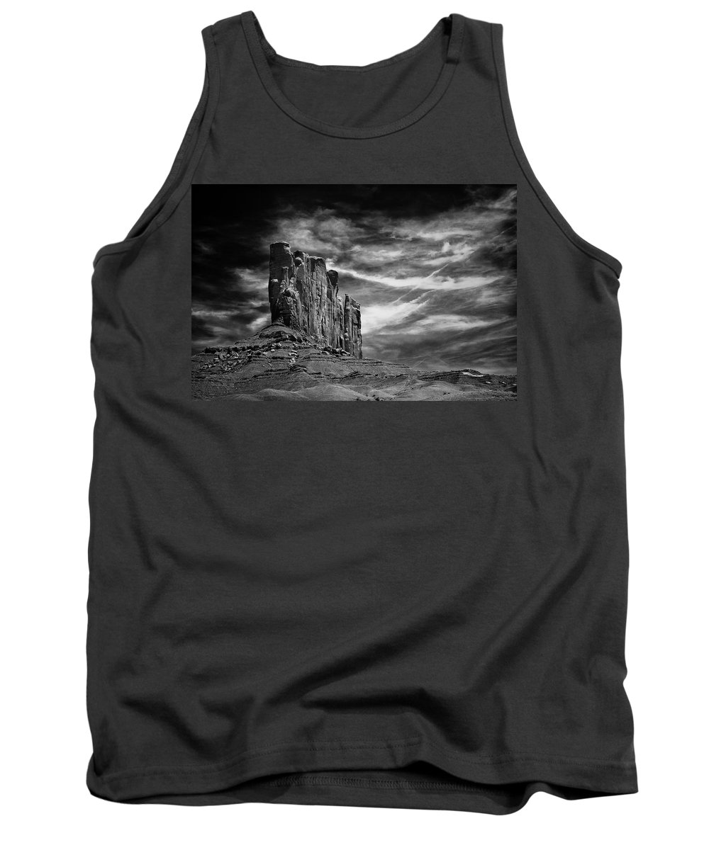 Arizona; Arizona Canyon; Canyon; United States; Usa; Southwest; Clouds; America; American; Beauty; Black; Deep; Desert; Environment; Erosion; Formation; Geology; Grand; Tank Top featuring the photograph Monument Valley 011 by Ingrid Smith-Johnsen