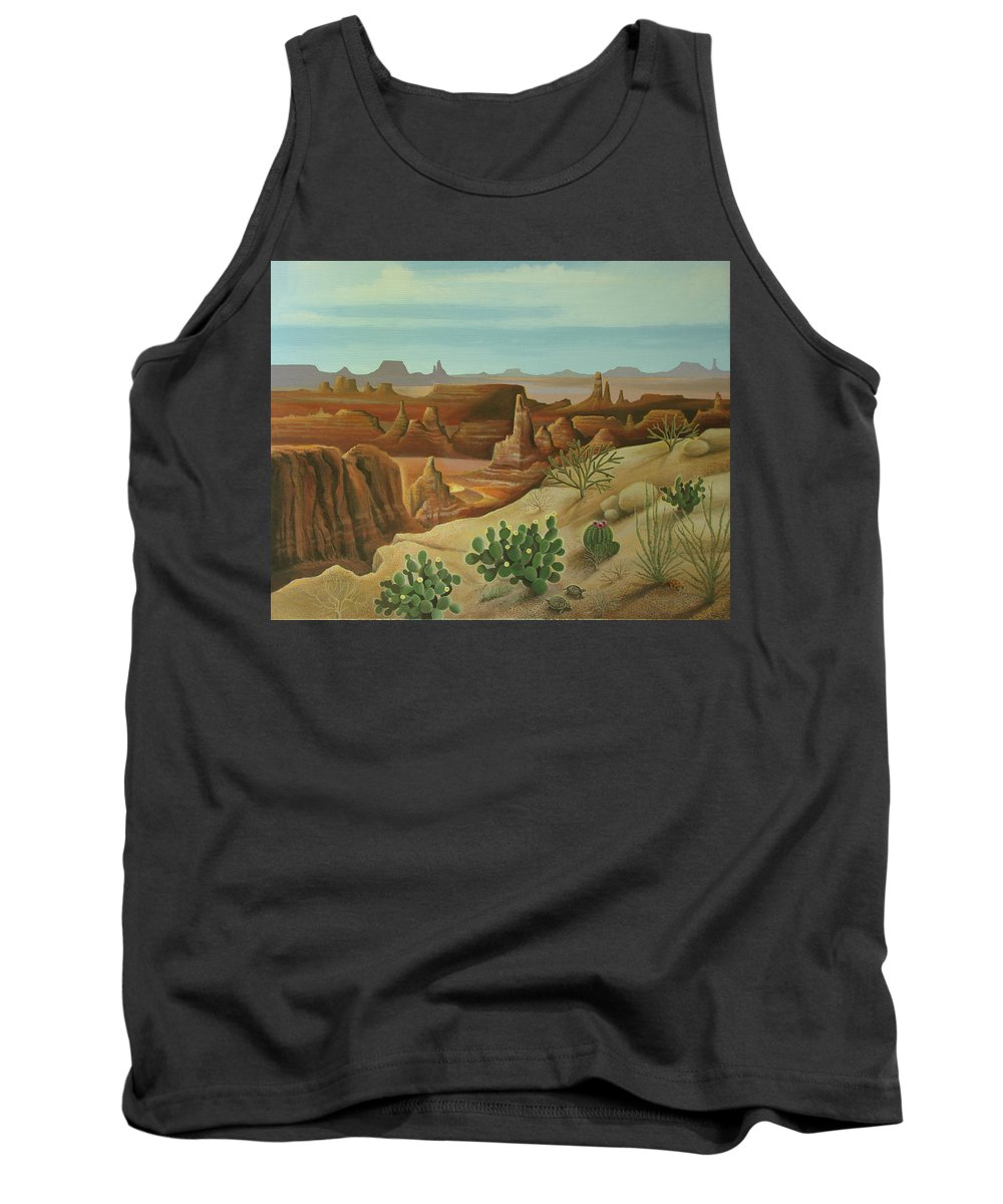 Desert Landscape Tank Top featuring the painting Monument Valley by Stuart Swartz