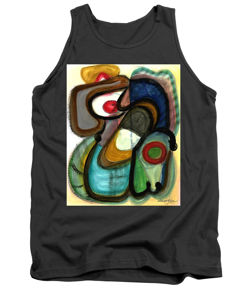 Abstract Art Tank Top featuring the painting Moody Blues by Stephen Lucas