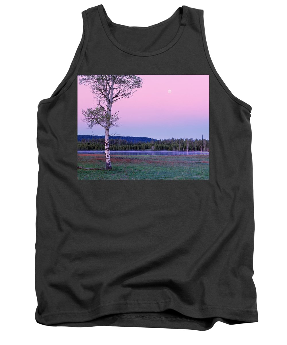 Moon Tank Top featuring the photograph Moon Set by Leland D Howard