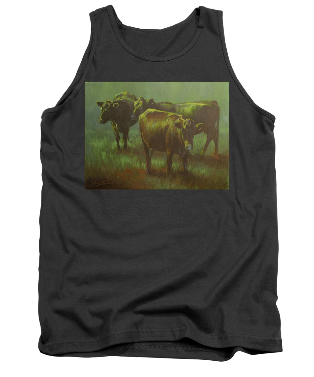 Cows Tank Top featuring the painting Moonlit by Mia DeLode