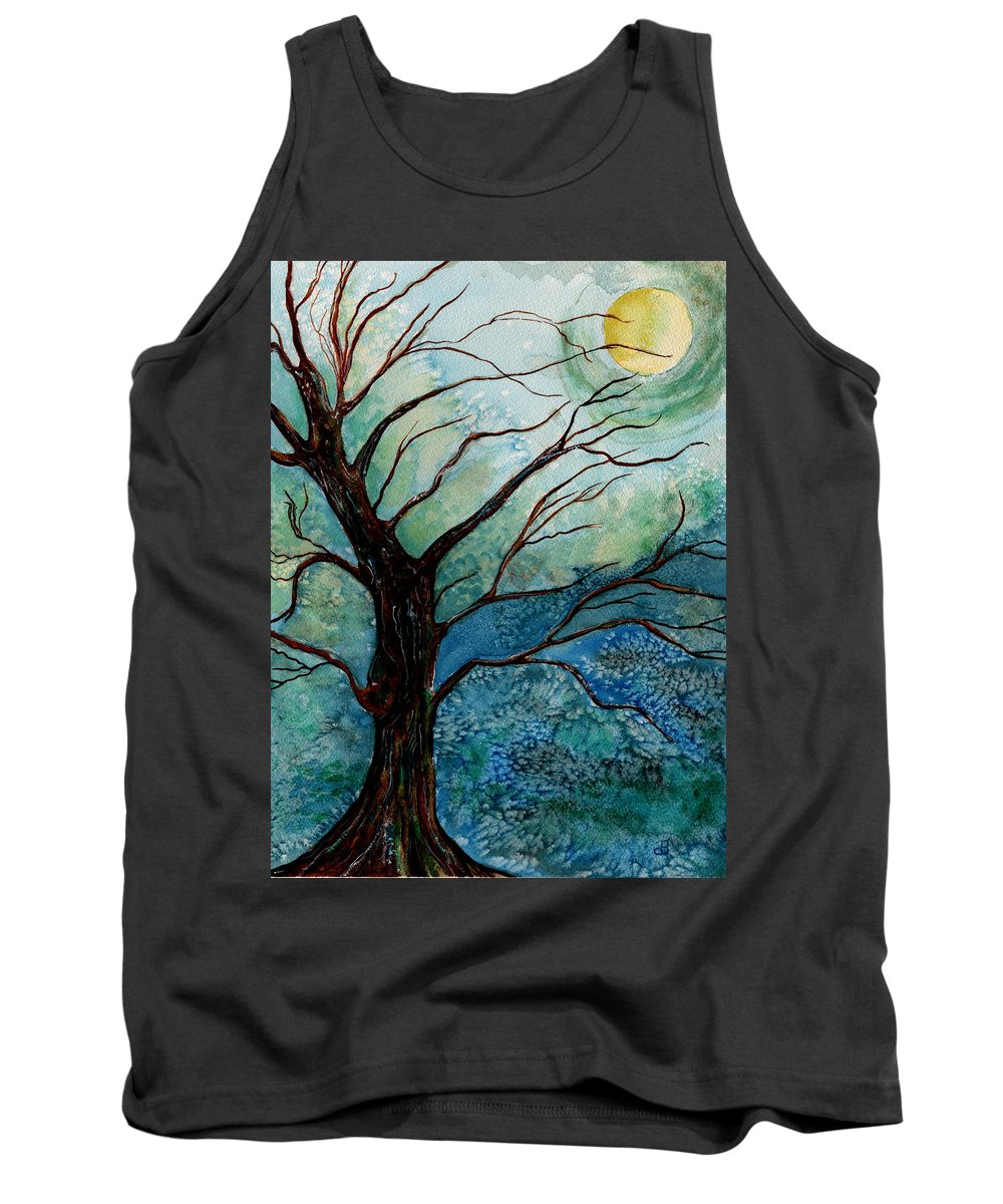 Landscape Tank Top featuring the painting Moonrise In The Wild Night by Brenda Owen