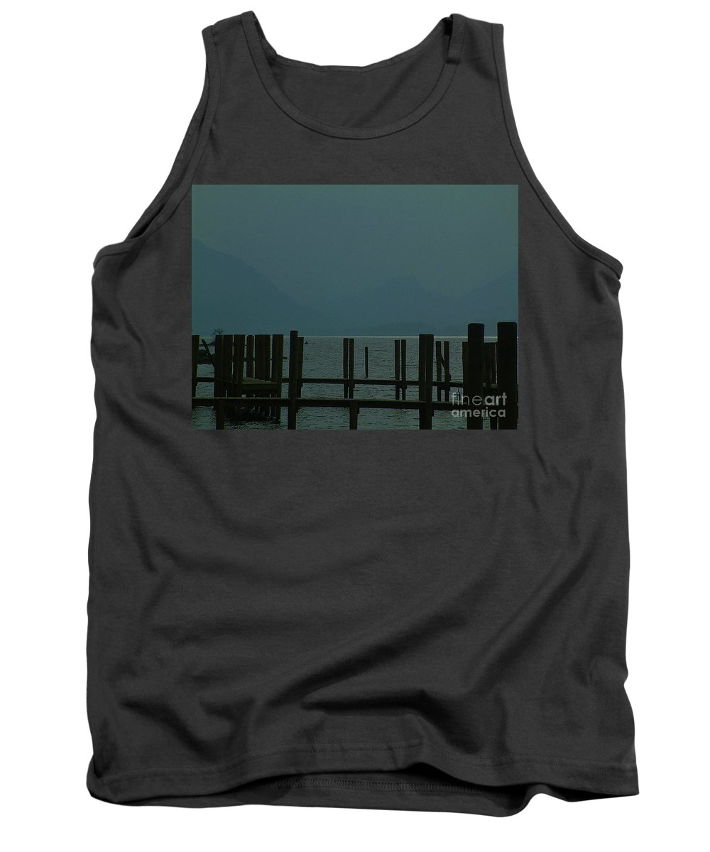 Landscape Tank Top featuring the photograph Moorings Derwent Water Cumbria 2002 by Simon Kennedy