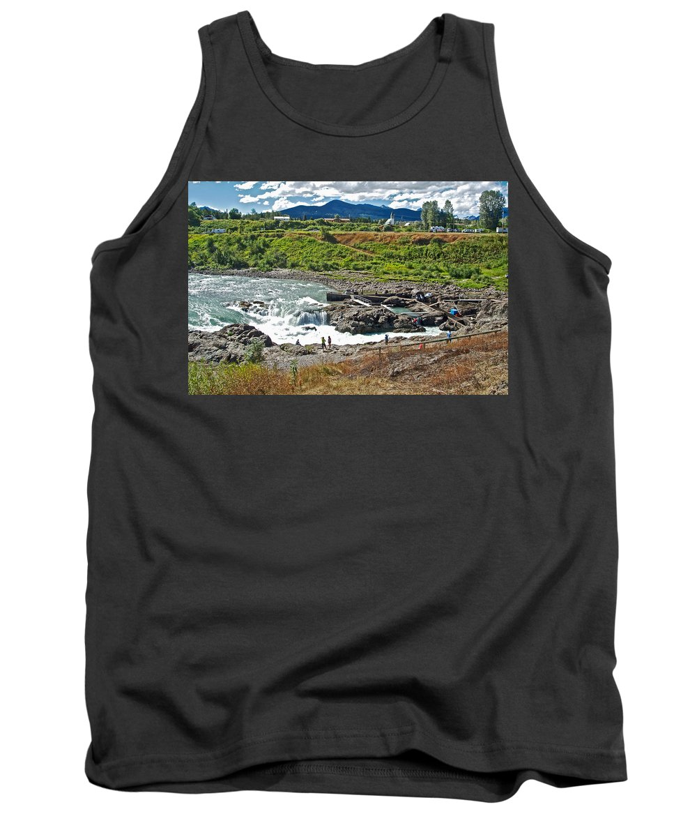 Moricetown Falls And Canyon Fishing Operation On The Bulkley River In Moricetwown Tank Top featuring the photograph Moricetown Falls And Canyon Fishing Operation On The Bulkley River In Moricetwown-british Columbia by Ruth Hager
