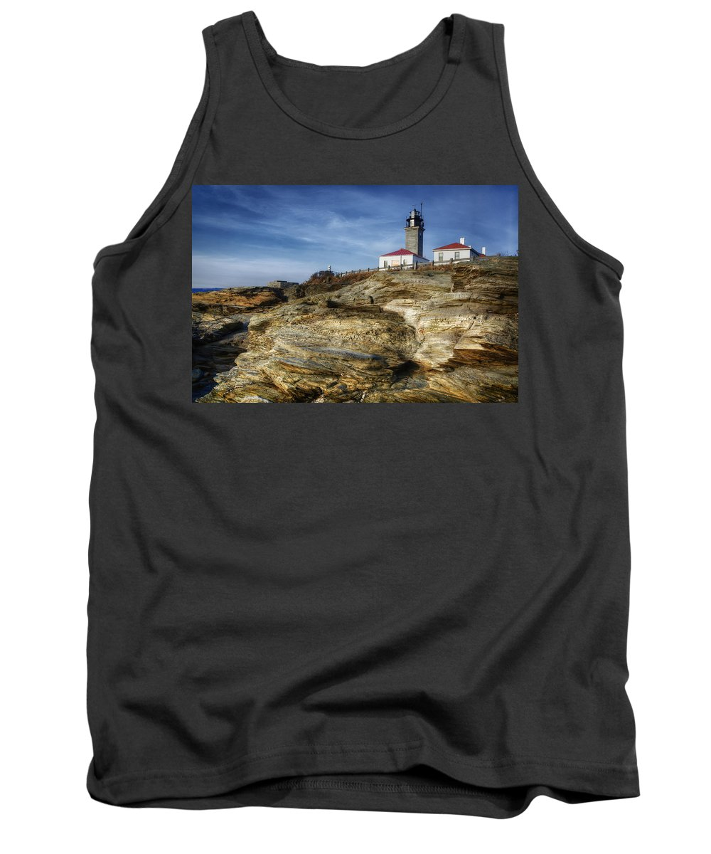 Joan Carroll Tank Top featuring the photograph Morning At Beavertail Lighthouse by Joan Carroll
