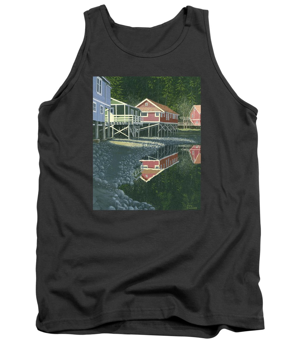 Landscape Tank Top featuring the painting Morning At Telegraph Cove by Gary Giacomelli