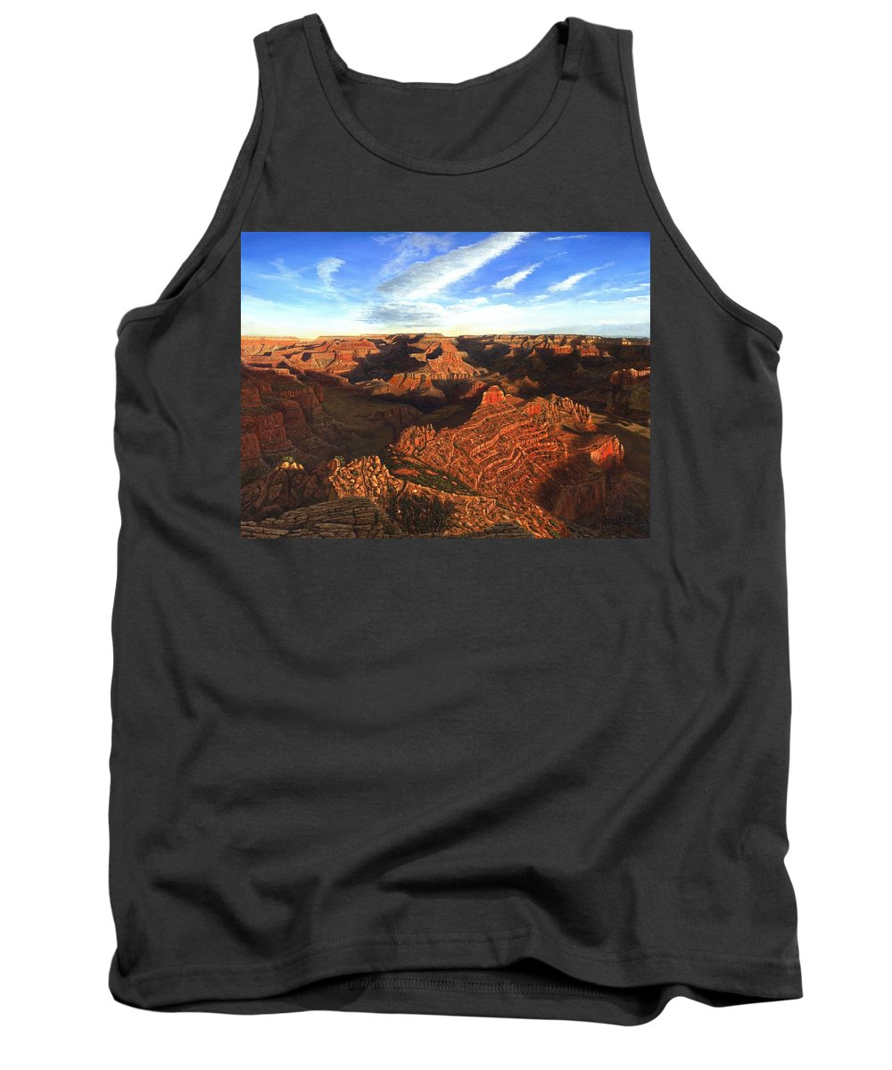 Grand Canyon Tank Top featuring the painting Morning Glory - The Grand Canyon From Kaibab Trail by Richard Harpum