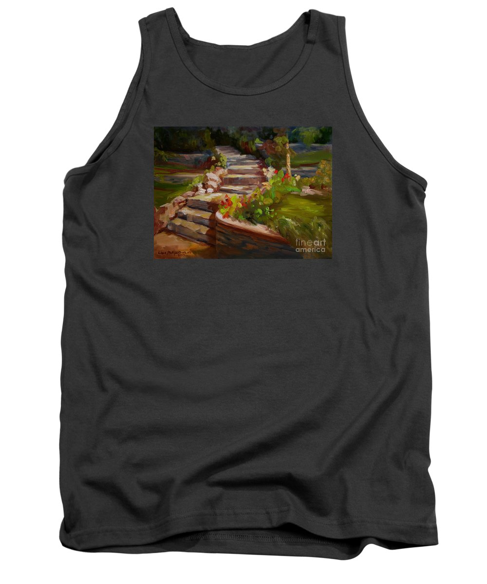 Stone Steps Tank Top featuring the painting Morning Light by Lisa Phillips Owens