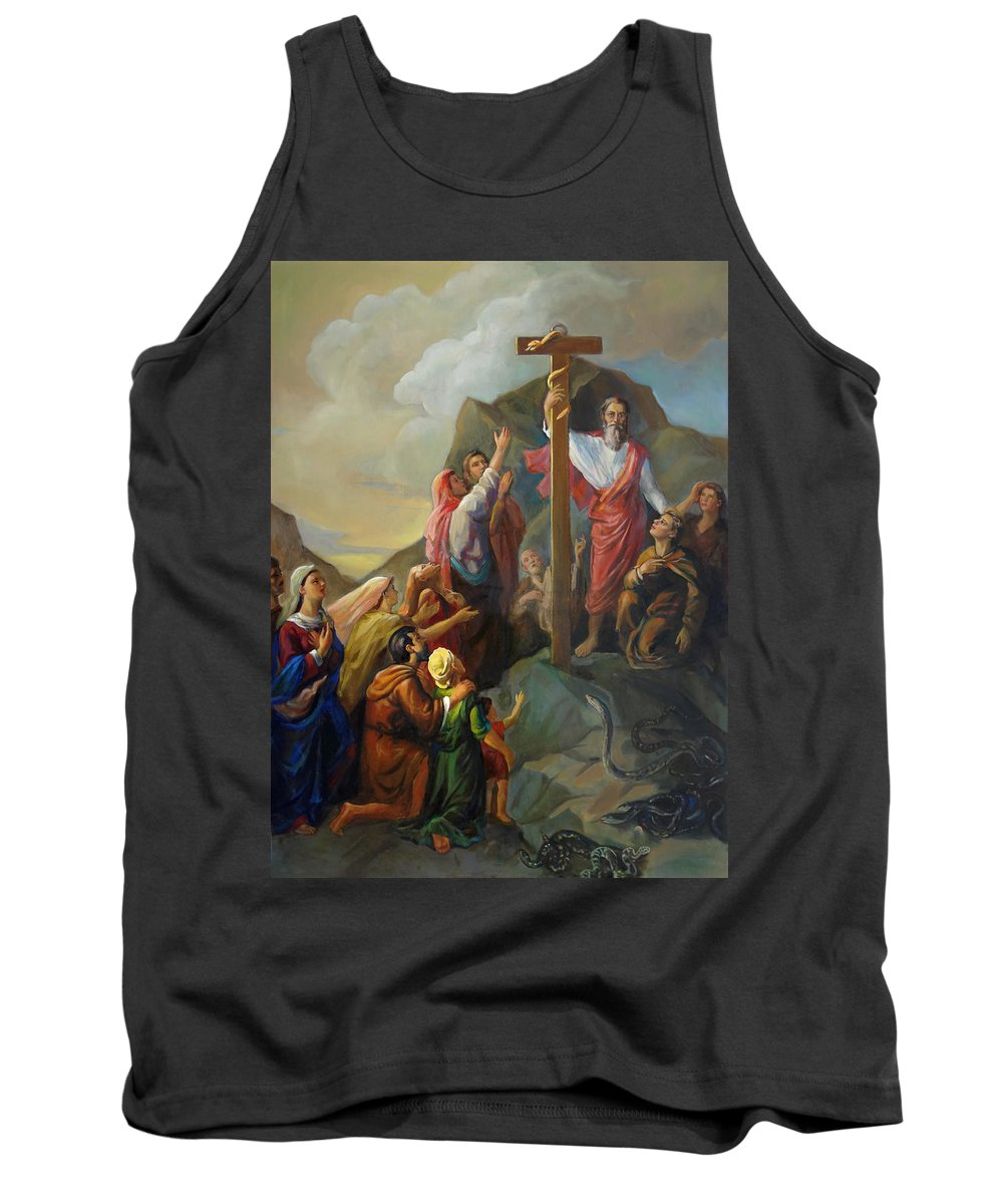 Moses Tank Top featuring the painting Moses And The Brazen Serpent - Biblical Stories by Svitozar Nenyuk