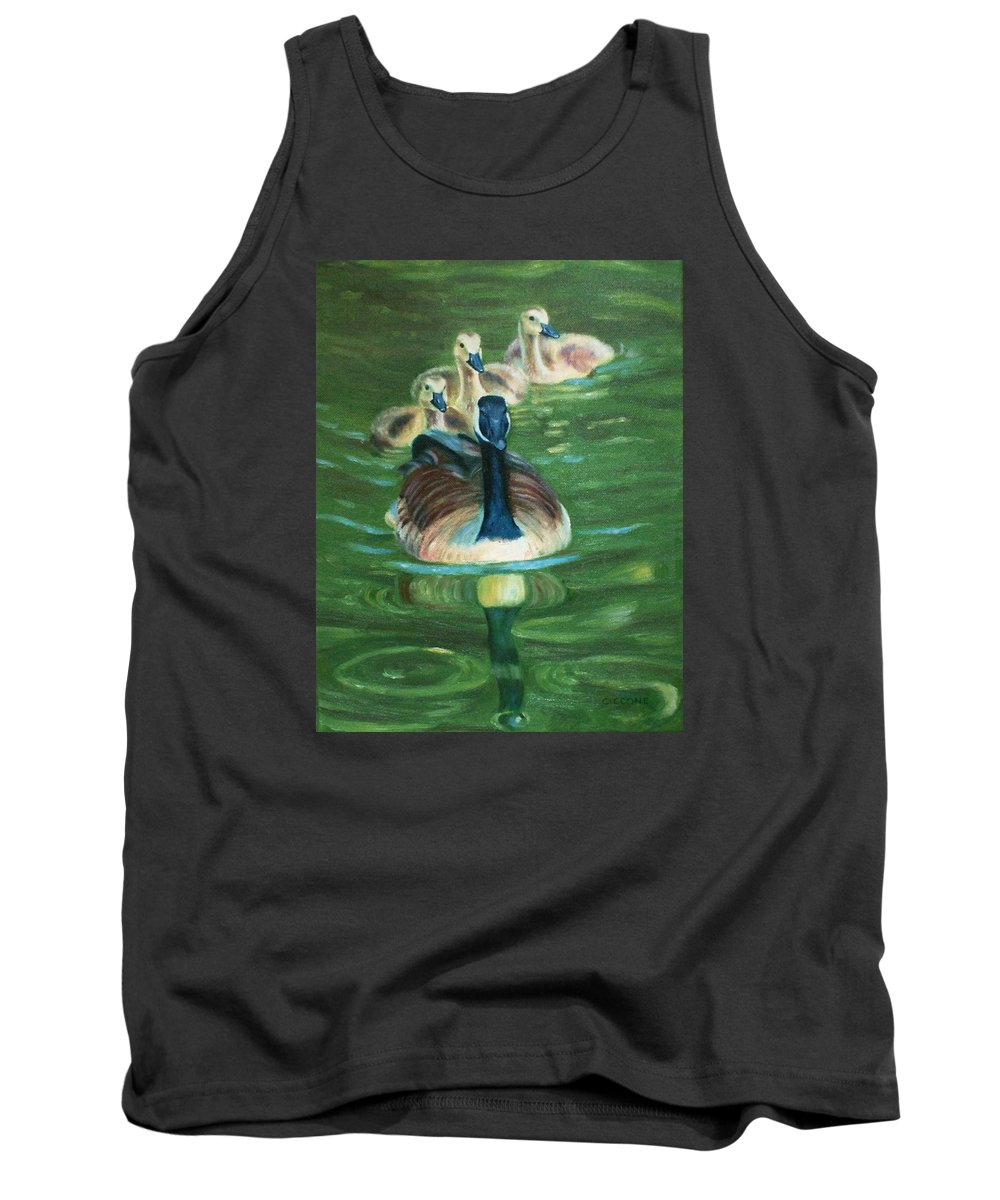 Nature Tank Top featuring the painting Mother Goose by Jill Ciccone Pike