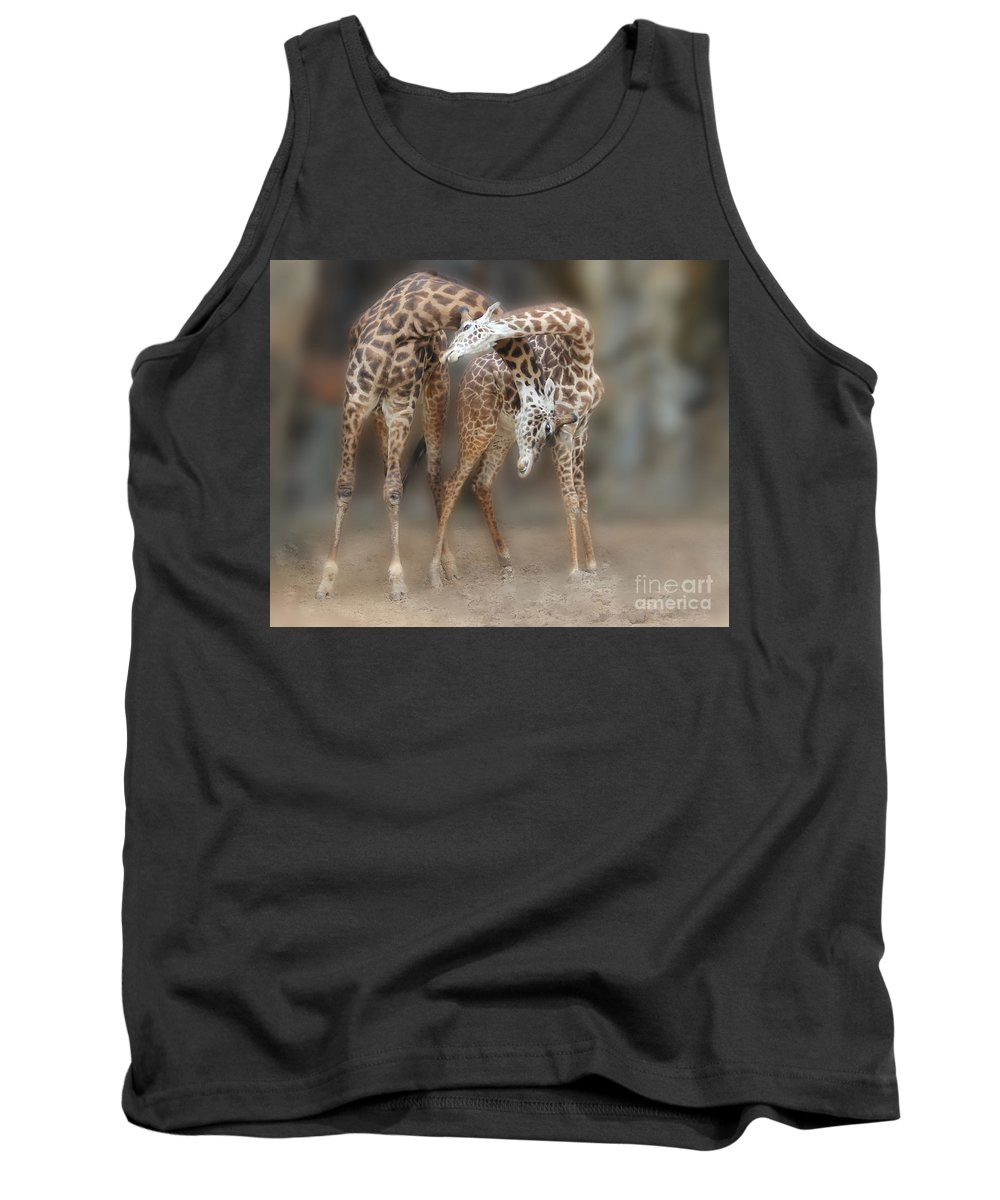 Giraffe Tank Top featuring the photograph Mother's Love by TN Fairey