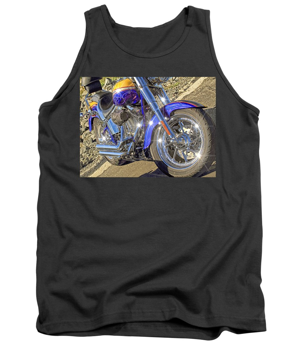 Recent Tank Top featuring the photograph Motorcycle Without Blue Frame by Geraldine Scull