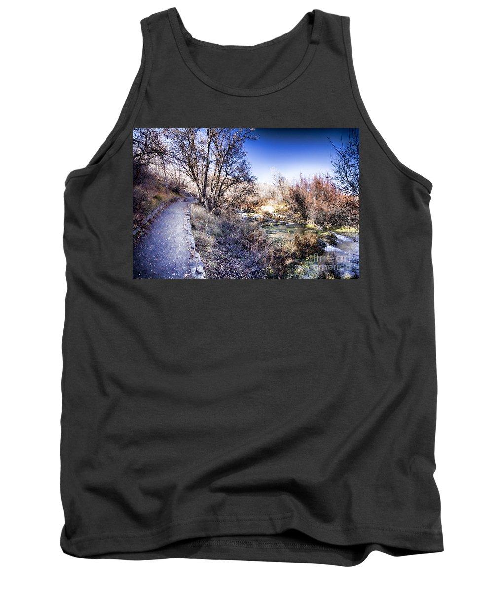 Ice Tank Top featuring the photograph Mountain Creek Path-sundance Utah by Douglas Barnard