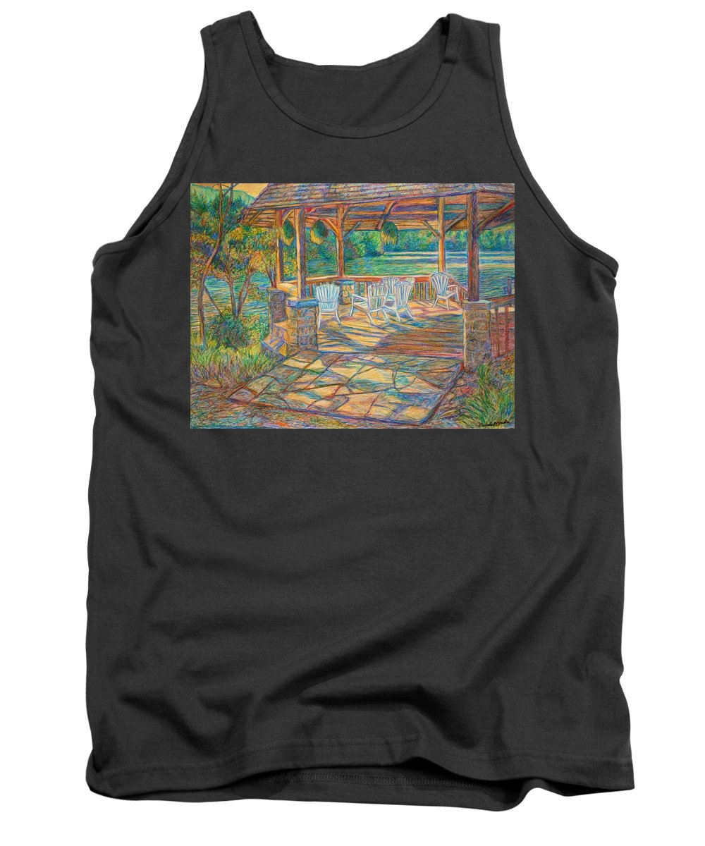 Lake Tank Top featuring the painting Mountain Lake Shadows by Kendall Kessler
