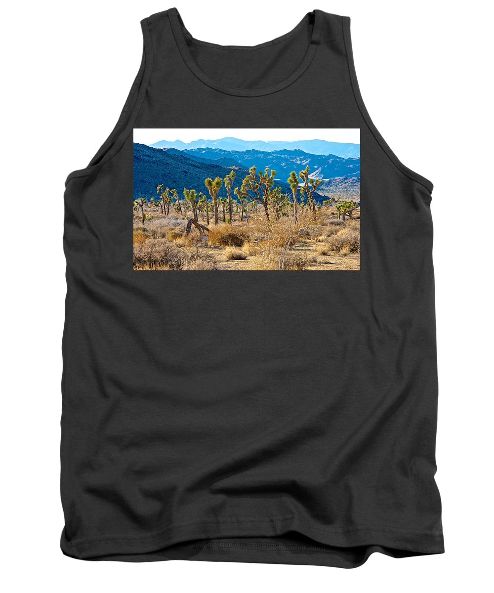 Mountain Layer Landscape From Quail Springs In Joshua Tree Np Tank Top featuring the photograph Mountain Layer Landscape From Quail Springs In Joshua Tree Np-ca- by Ruth Hager