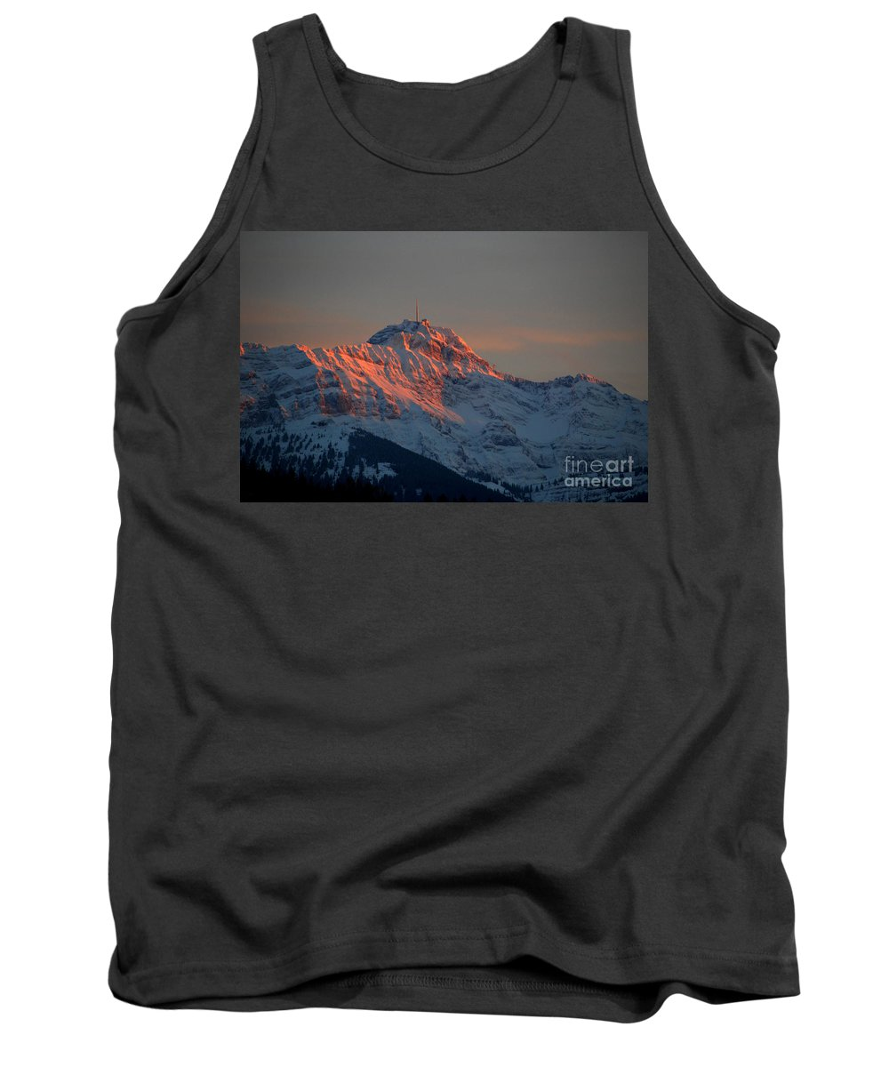 Mountain Sunset Tank Top featuring the photograph Mountain Sunset In Switzerland by Susanne Van Hulst