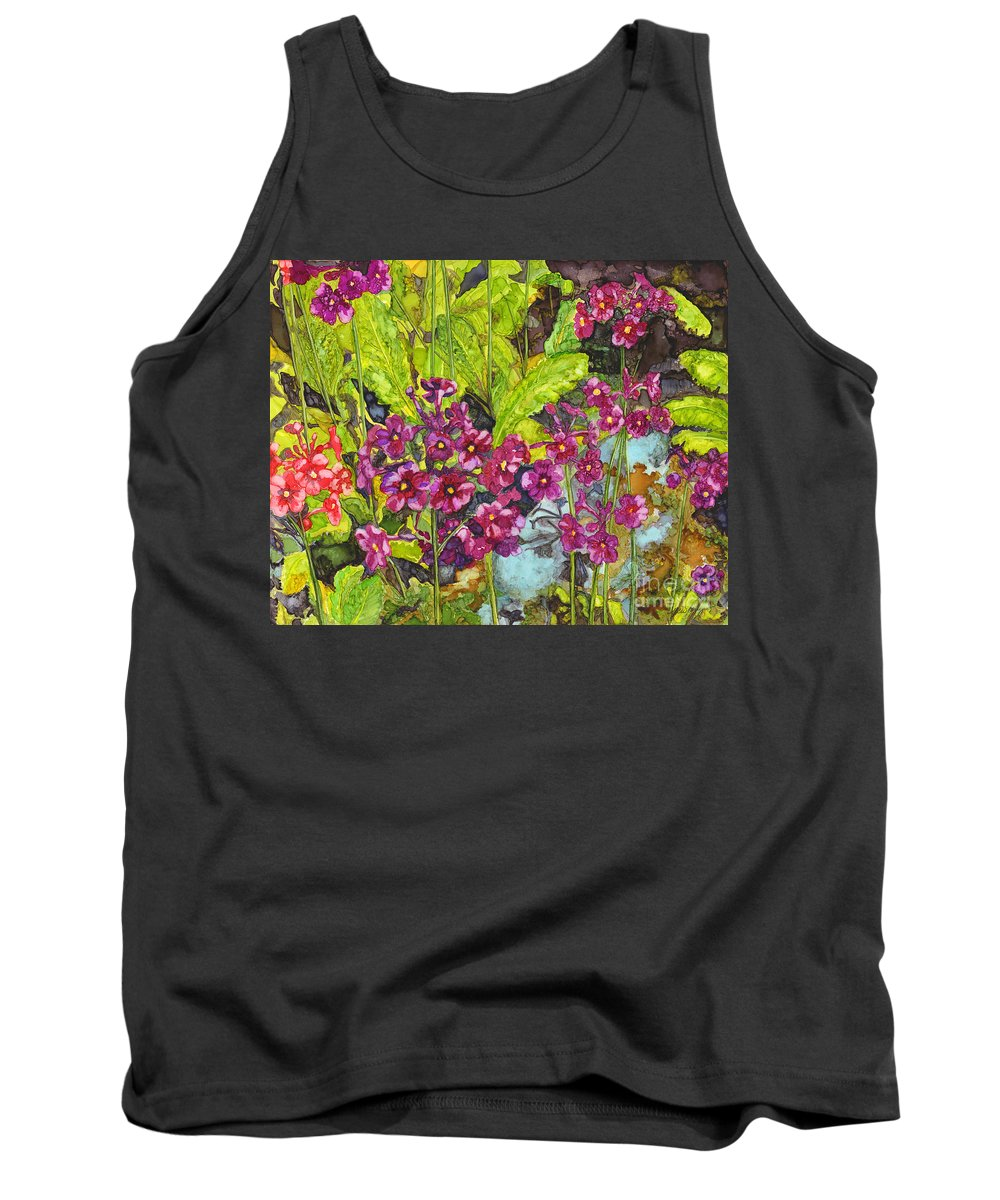 Alcohol Ink Tank Top featuring the painting Mountain Wild Flowers by Vicki Baun Barry