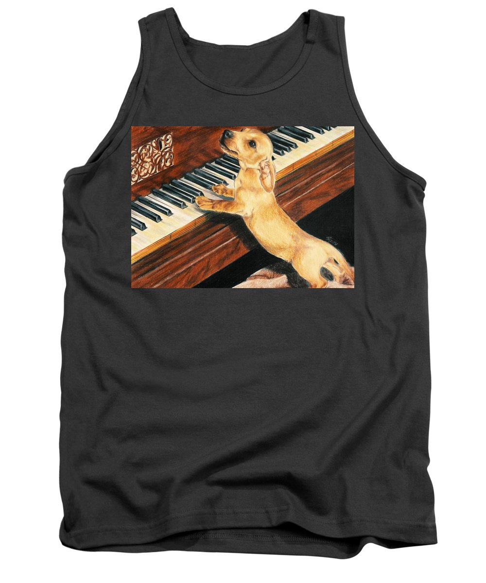 Purebred Dog Tank Top featuring the drawing Mozart's Apprentice by Barbara Keith