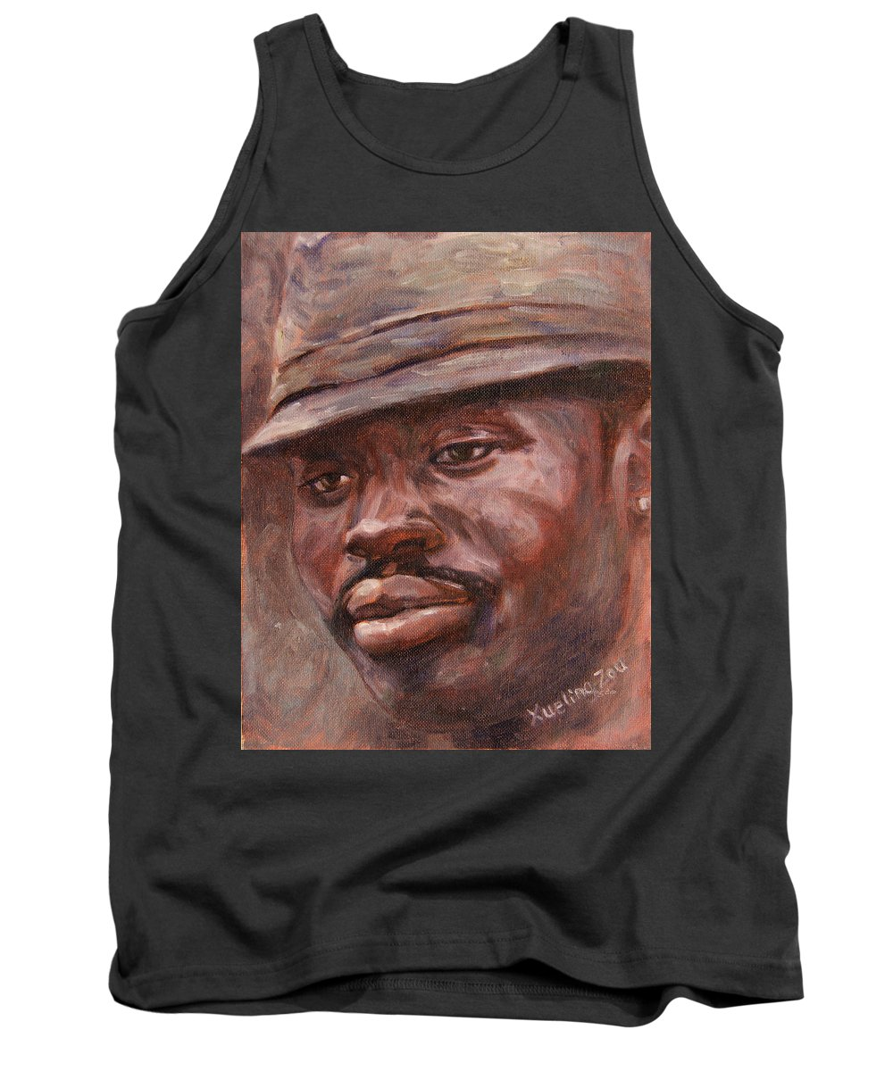 Mr Cool Hat Tank Top featuring the painting Mr Cool Hat by Xueling Zou