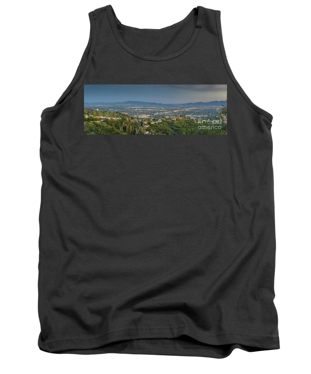 Mulholland Estates; Luxury Homes; Residence; Overlooking Sherman Oaks; San Fernando Valley; Ca Cgi Backgrounds Tank Top featuring the photograph Mullholland Estates Luxury Residences San Fernando Valley Ca by David Zanzinger