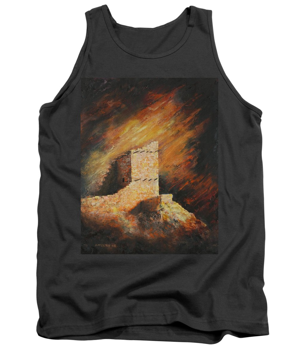 Anasazi Tank Top featuring the painting Mummy Cave Ruins 2 by Jerry McElroy