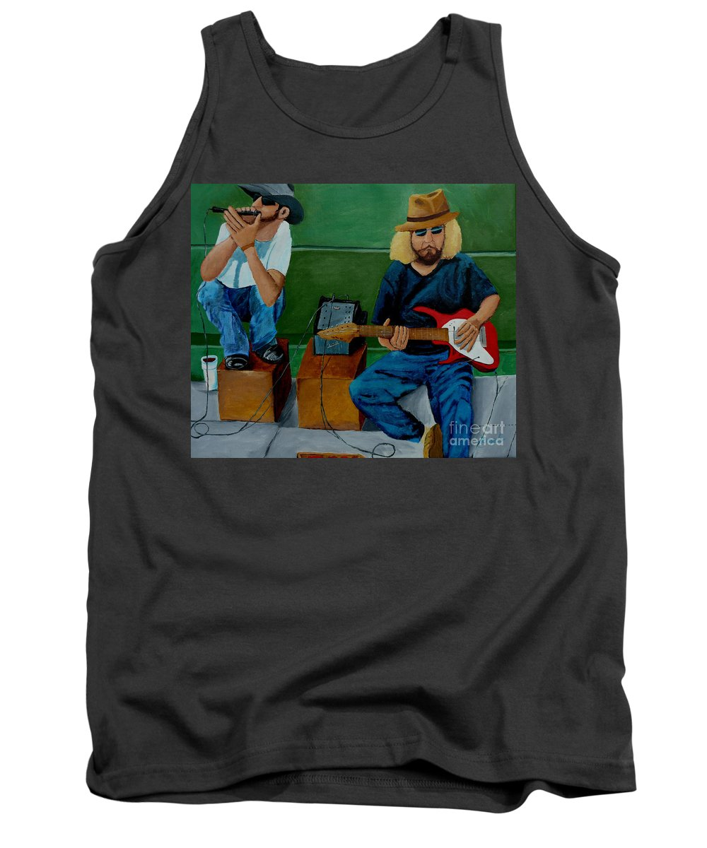 Street Tank Top featuring the painting Music Of The Street by Anthony Dunphy
