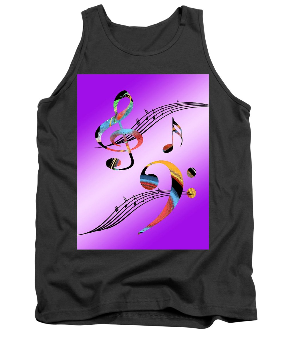 Music Tank Top featuring the digital art Musical Illusion by Gill Billington